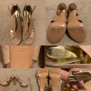 Coach nude leather heels EUC Sz. 7.5